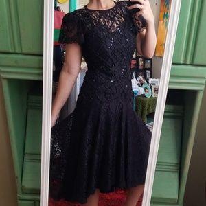 VTG 80s Does 20s Dropwaist Lace Midi Dress